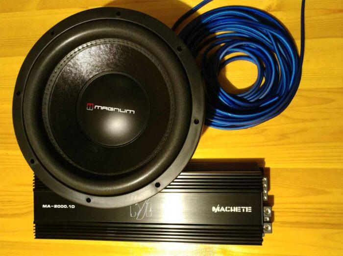 Усилитель Alphard Machete MA-2000.1D и сабвуфер Magnum MBW 12-22DC и акустический кабель Stinger