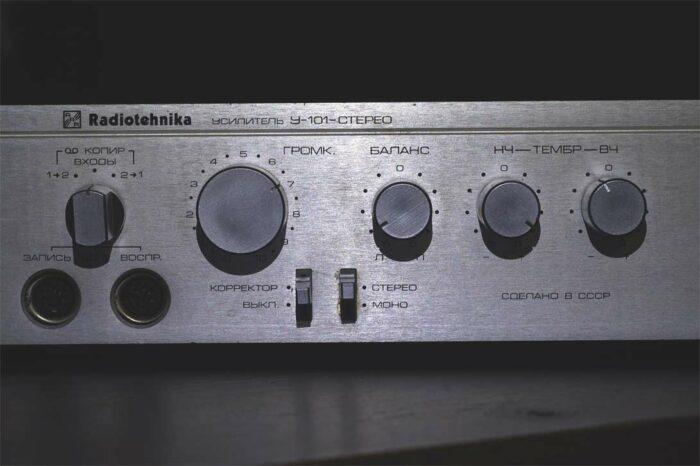 Набор регулировок усилителя Радиотехника У101 стандартный: Баланс, НЧ, ВЧ и переключатели корректора и Mono/Stereo